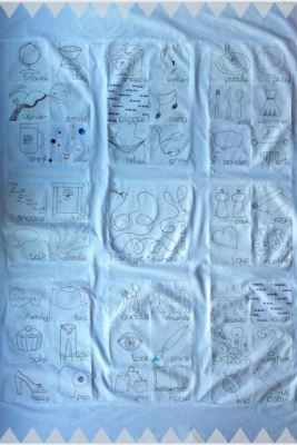 Free-motion embroidered quilt- 'Story of me'