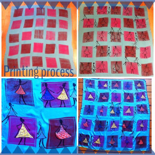Heavy silk twill printed scarf