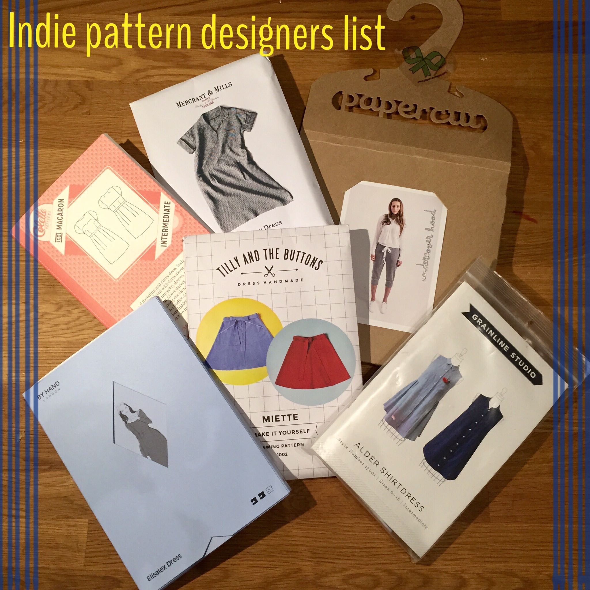 Indie sewing pattern designers list | Curate and create
