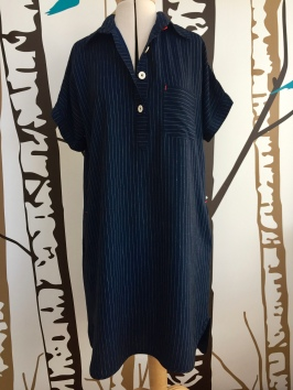 Closet Case Kalle shirtdress in pinstripe rayon